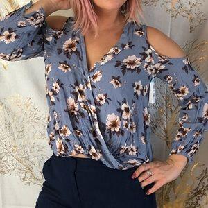 Lush Nordstrom Open shoulder floral long sleeve